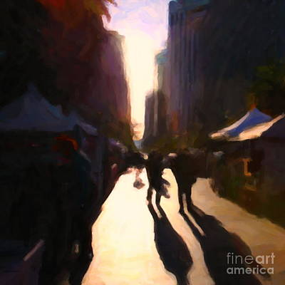 Shopping Stands Along Market Street At San Francisco's Embarcadero - 5d20841 - Square Poster by Wingsdomain Art and Photography