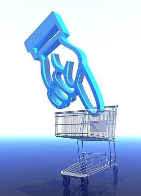 Shopping Trolley And Icon Poster