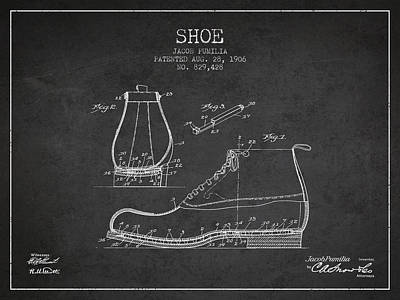Shoe Patent From 1906 - Charcoal Poster by Aged Pixel