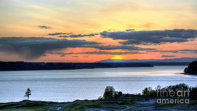 Poster featuring the photograph Showers Over Mcneil Island - Chambers Bay Golf Course by Chris Anderson