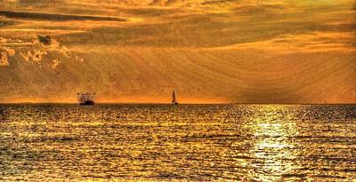 Shrimp And Sailboat At Sunset Poster by Michael Thomas