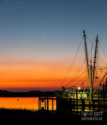 Shrimp Boat At Dusk Folly Beach Poster