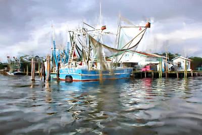 Shrimp Boats At Aquila Seafood Poster by Lynn Jordan