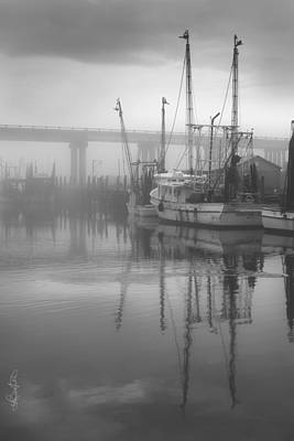 Shrimp Boats In The Fog - Black And White Poster