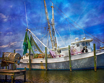 Shrimpin' Boat Captain And Mates Poster by Betsy Knapp