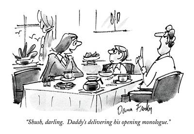 Shush, Darling.  Daddy's Delivering His Opening Poster by Dana Fradon
