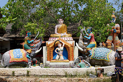 Siamese Wat Garden With Sculptures Poster by Linda Phelps