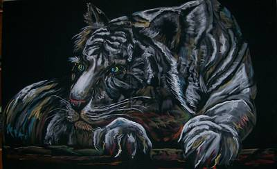Poster featuring the pastel Siberian Tiger by Peter Suhocke