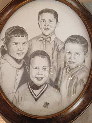 Poster featuring the drawing Siblings by Sharon Schultz
