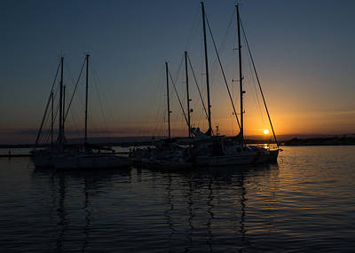 Sicilian Sunset At The Syracuse Harbour  Poster by Georgia Mizuleva