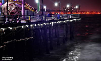 Poster featuring the digital art Side Of The Pier - Santa Monica by Gandz Photography