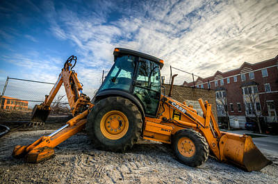 Side View Of A Backhoe At Sunset Poster