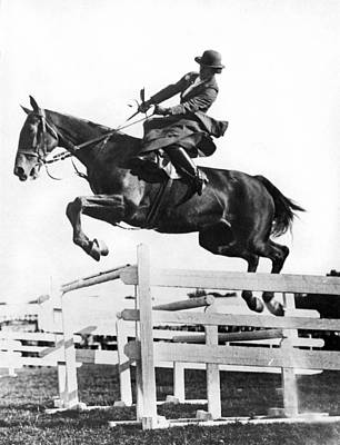 Sidesaddle Jumps At Horse Show Poster by Underwood Archives