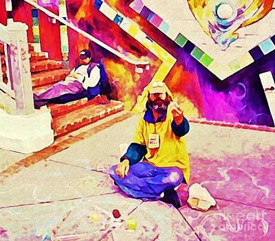 Sidewalk Artist In Haight-ashbury Poster by John Malone