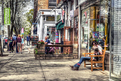 Sidewalk Scene - Great Barrington Poster