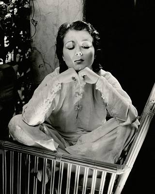 Sidney Fox Sitting On A Bamboo Chair Poster by Edward Steichen