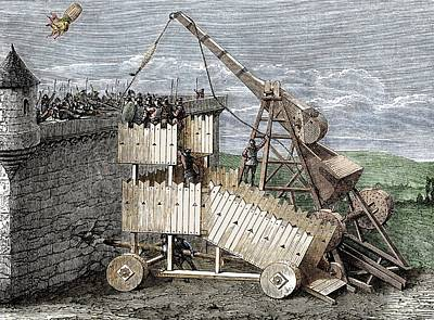 Siege With Trebuchet And Greek Fire Poster by Sheila Terry