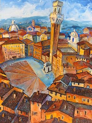 Siena-piazza Dil Campo Poster by Mikhail Zarovny