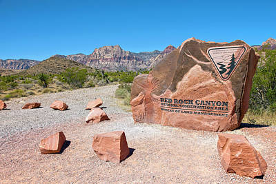 Sign On Rock, Red Rock Canyon National Poster by Panoramic Images