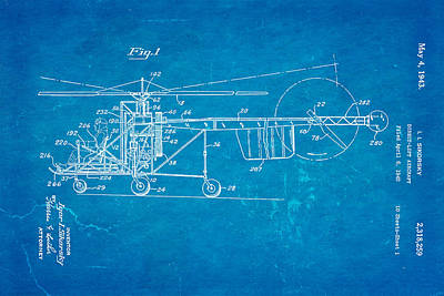 Sikorsky Helicopter Patent Art 1943 Blueprint Poster by Ian Monk