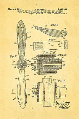 Sikorsky Helicopter Patent Art 4 1932 Poster by Ian Monk