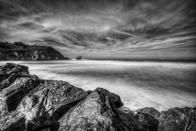 Silence In Black And White - Rockaway Beach Pacifica California  Poster