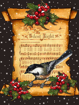 Silent Night Christmas Greeting Card With Bird Poster