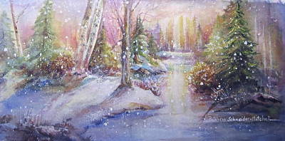 Poster featuring the painting Silent Snowfall by Patricia Schneider Mitchell