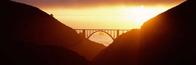 Silhouette Of A Bridge At Sunset, Bixby Poster