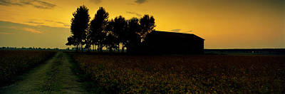 Silhouette Of A Farmhouse At Sunset Poster