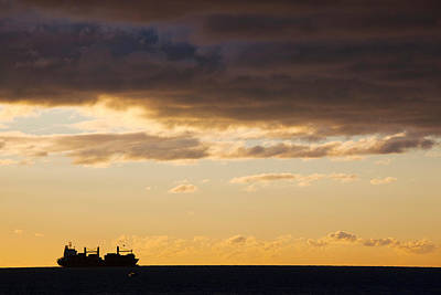 Silhouette Of A Ship In The Sea Poster