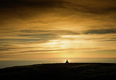 Silhouette Of A Woman Meditating On Top Poster by Panoramic Images