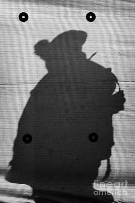 Silhouette Of British Army Soldier On Screen On Crumlin Road At Ardoyne Shops Belfast 12th July Poster by Joe Fox