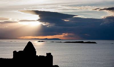 Silhouette Of Dunluce Castle Poster