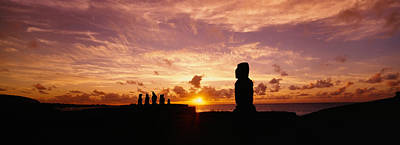 Silhouette Of Moai Statues At Dusk Poster