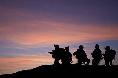 Silhouette Of Modern Troops In Middle East Silhouette Against Be Poster