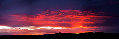 Silhouette Of Mountain Range At Sunset Poster by Panoramic Images