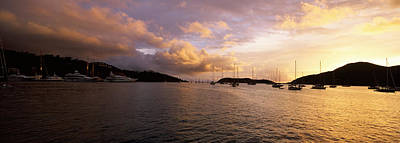 Silhouette Of Sailboats And Mountain Poster by Panoramic Images