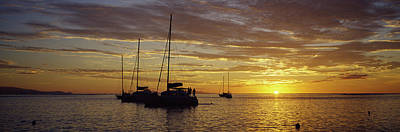Silhouette Of Sailboats In The Sea Poster by Panoramic Images