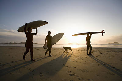 Silhouette Of Three Surfers And A Dog Poster by Deddeda