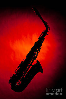 Silhouette Photograph Of An Alto Saxophone 3357.02 Poster