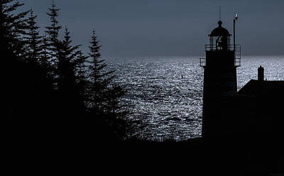 Silhouette West Quoddy Head Lighthouse Poster by Marty Saccone