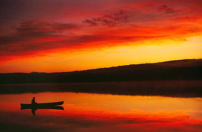 Silhouetted Canoe On Lake Poster by Panoramic Images