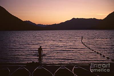 Silhouetted Man Lake Wenatchee Poster by Jim Corwin