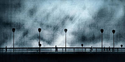 Silhouettes Sur La Passerelle. Blue. Poster by Sol Marrades