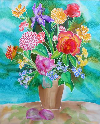 Silk Teal Bouquet Poster
