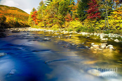 Silky Saco River Autumn Scenic I Poster by George Oze