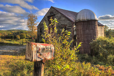 Silo And Barn In Autumn Poster