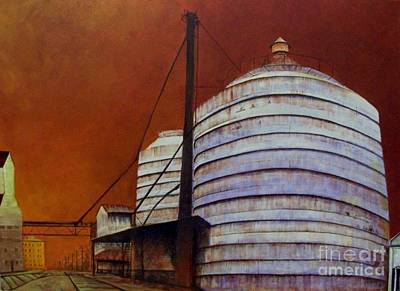 Silos With Sienna Sky Poster