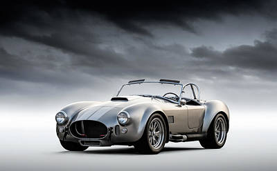 Poster featuring the digital art Silver Ac Cobra by Douglas Pittman